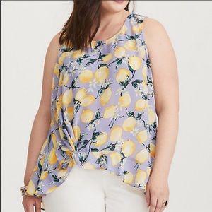 Torrid blue lemon ruffle tank blouse, size 4X